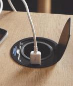 Bloc 1 prise affleurant + USB / noir