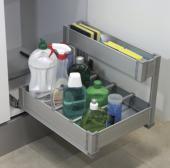 Panier sous évier extractible en Aluminium / meuble de 400mm