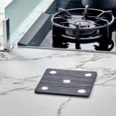 Repose casserole FIVE 2 en 1 silicone alimentaire 18 x 18cm/ métal chromé - silicone noir