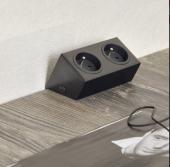 bloc 1 ou 2 prises incliné sous meubles haut (1 prise noir)