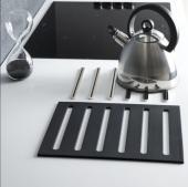 Kit 2 en 1 repose casserole + dessous de plat ( métal chromé - silicone noir 1541 )