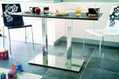 Double pied central carré en acier chromé ou inox ( hauteur 73cm - chromé )