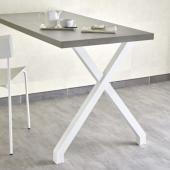 Pied en Acier forme X profil 50mm / Blanc Mat - Hauteur 72cm