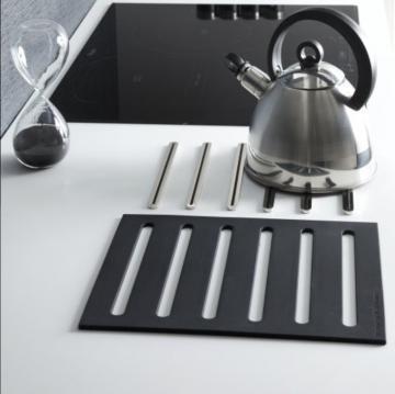 Kit 2 en 1 repose casserole + dessous de plat ( métal chromé - silicone noir )