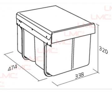 Poubelle hauteur réduite 2 bacs de 15 litres