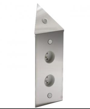 bloc 2 ou 3 prises + interrupteur d\'angle inox brossé