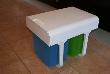 poubelle tri selectif bacs litres vert bleu - Poubelle De Cuisine Vert Pastel