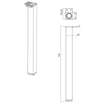 Pied de Table Carré en Acier 60mm schéma