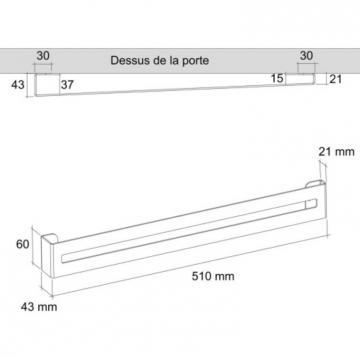 barre range couvercle 510mm schéma