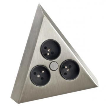 bloc 3 prises d'angle inox brossé A9430