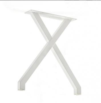 Pied table en X blanc mat