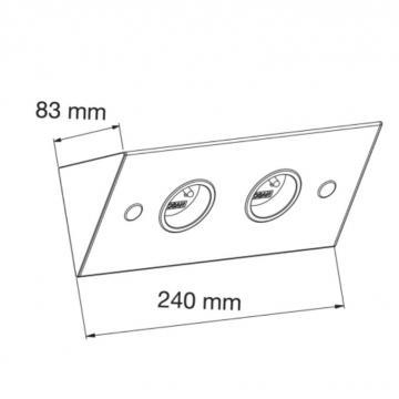 bloc 2 prises sous meubles haut alu ou inox brossé
