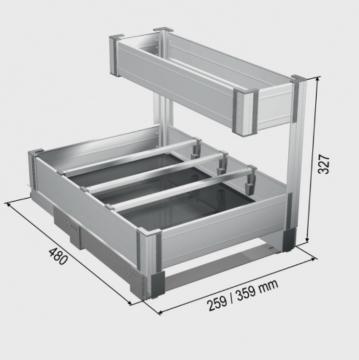 Panier sous évier extractible en Aluminium schéma