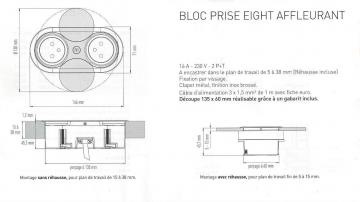 Bloc 1 prise + USB affleurant EIGHT