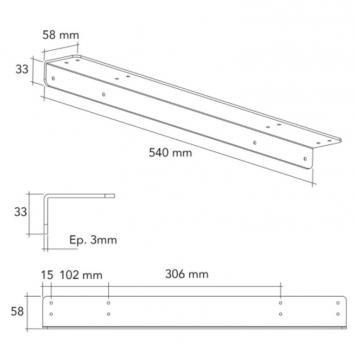 Equerre de fixation 3 mm schéma 540mm