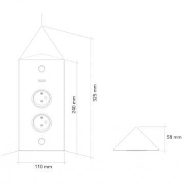 bloc 2 prises + interrupteur d'angle inox brossé