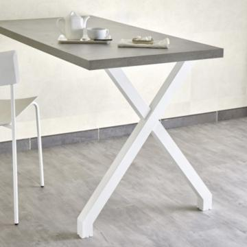 Pied de table et snack en X blanc mat