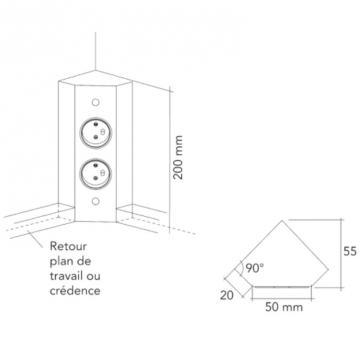 Bloc 2 prises d'angle avec retour A9713 schéma