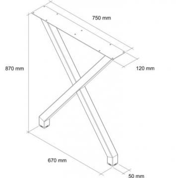 Pied table en X schéma 87cm