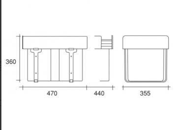 Poubelle tri sélectif 2 bacs 16 litres MSA 9004 schéma