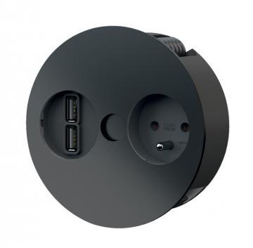 Bloc 1 prise + chargeur USB double TWIST/ Noir Mat