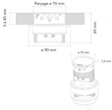 Bloc 1 prise affleurant + USB