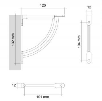 support tablette 120mm schéma