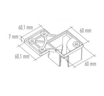 Platine pour montage affleurant de pied carré 60mm