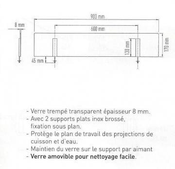 Kit de protection anti projection ilot aimant - Plan de travail en verre trempe ...