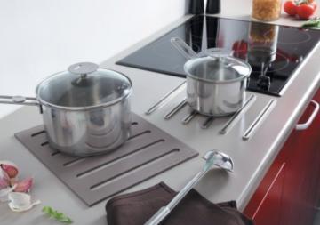 Kit 2 en 1 repose casserole + dessous de plat ( métal chromé - silicone taupe )