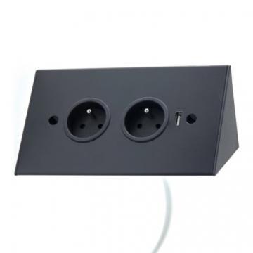 bloc 2 prises d'angle + USB noir mat