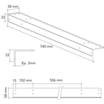 Equerre de fixation 3 mm schéma 740mm