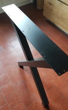 """Pied en Acier forme """"X"""" esprit indus/ hauteur 87 noir mat"""