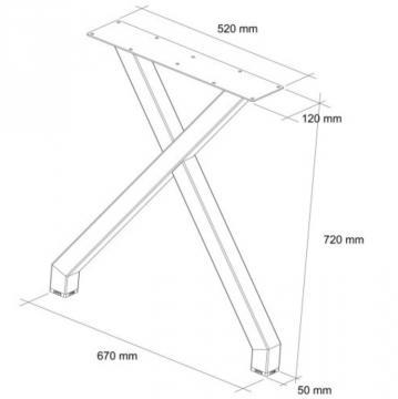 Pied table en X schéma 72cm