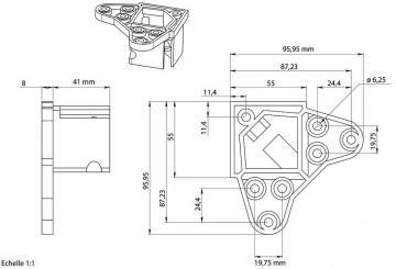 Pied de table carré 50mm schéma de la platine