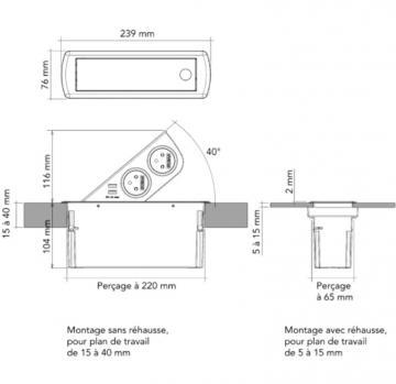 Bloc 2 prises + 2 USB CIZO affleurant