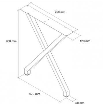 Pied table en X schéma 90cm