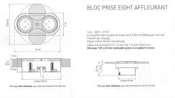 Bloc 1 prise + USB affleurant EIGHT