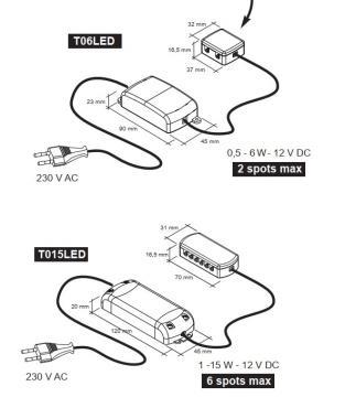 convertisseur Spot led 2,4W extra plat
