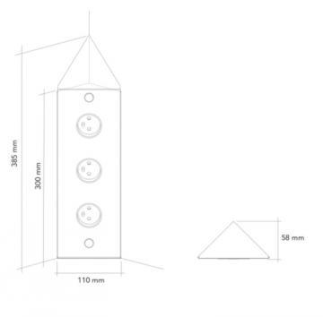bloc 3 prises d'angle en métal MSA A 9590 schéma