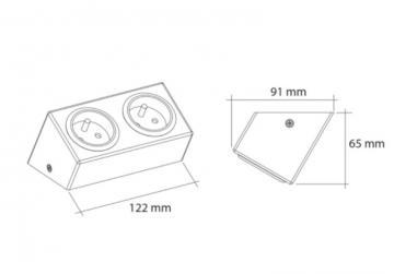 bloc 1 ou 2 prises inox inclinées sous meubles haut
