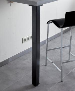 Pied de Table Carré en Acier 60mm noir mat