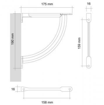 support tablette 175mm schéma