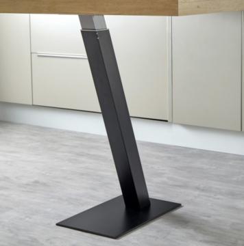 Pied de Snack carré incliné télescopique en acier noir mat