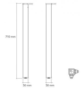 Pied de table carré 50mm schéma