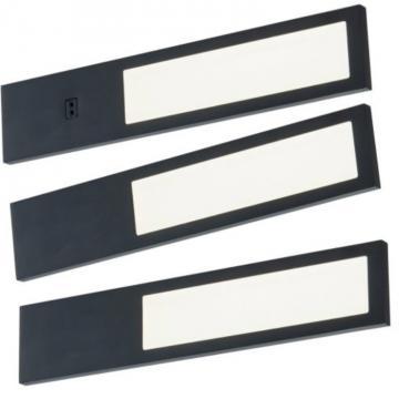 kit 3 profil led 3,8w extra plat noir