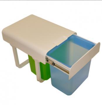 Poubelle tri sélectif 2 bacs 16 litres MSA 9004