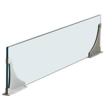 Séparateur ilot en verre 90cm supports inox sans perçage