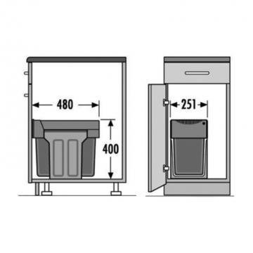 Poubelle tri sélectif 2 bacs de 24 et 7  litres
