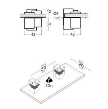 2 Supports tablette de 3 à 16mm alu mat